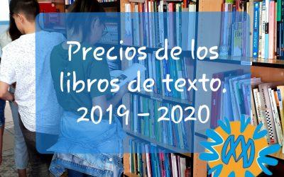 Precios de los libros de texto para el curso 2019/2020