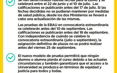 Primeras medidas sobre la EvAU desde el Ministerio de Universidades
